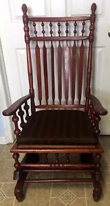 Antique Victorian Carved Wood Glider Rocker Rocking Chair With Upholstered Seat