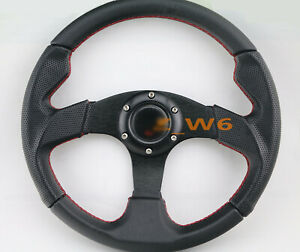 Flat Dish 350mm 6 Hole Leather Red Stitch Racing Jdm Steering Wheel Horn
