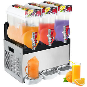 3x15l Commercial Frozen Drink Slush Slushy Making Machine Smoothie Ice Maker