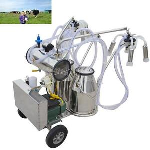 Double Tank Milker Electric Vacuum Pump Milking Machine For Farm Cows 110v 220v