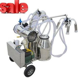 Double Tank Milker Electric Vacuum Pump Milking Machine For Farm Cows 0 75kw