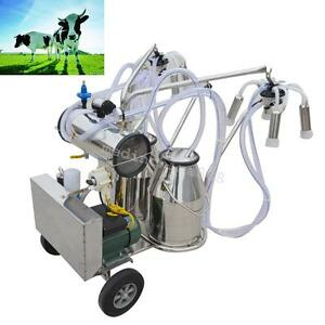 2pcstank Milker Electric Adjustable Vacuum Pump Milking Machine For Farm Cows