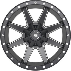 24x14 Xtreme Mudder Xm 304 Wheels Black Rims Fits Lifted Chevy Ford Trucks 6 Lug