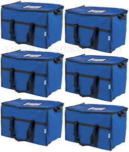 6 Pack Insulated Blue Nylon Hot Cold Catering Delivery Food Carrier Bag Cooler