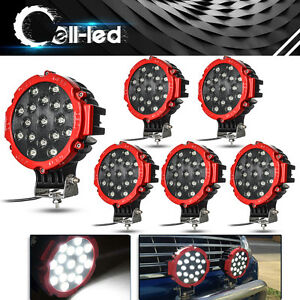 6x 7inch 51w Round Led Work Light Flood Offroad Fog Driving Boat Jeep Bumper 4wd