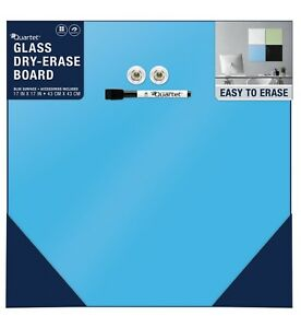 Blue Quartet Frameless Glass Dry erase Board Magnetic 17 X 17 Modular