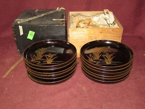 Antique Japanese Lacquer Dish Set Of 12