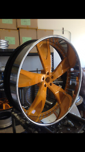 24 Inch Customized 3 Pieces Wheels Chromed Powder Coat Center