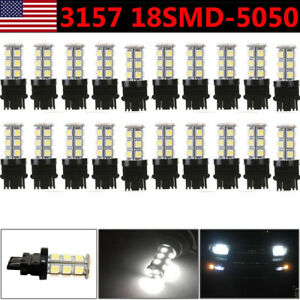 20x Pure White 3157 5050 18smd Led Car Tail Brake Stop Light 3156 3057 3457 Us