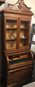 Antique Victorian Black Walnut Cylinder Roll Top Secretary Desk Nice