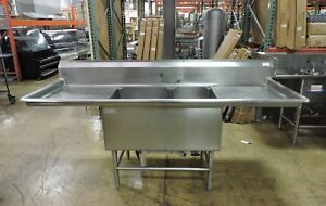 Commercial Stainless Steel 2 compartment Sink W 2 Drainboards