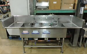 Commercial Stainless Steel 4 compartment Sink W 2 Drainboards