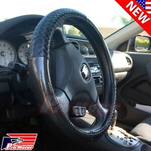Euro Carbon Fiber Steering Wheel Cover Protector Hand Pad Leather Slip On Pro1