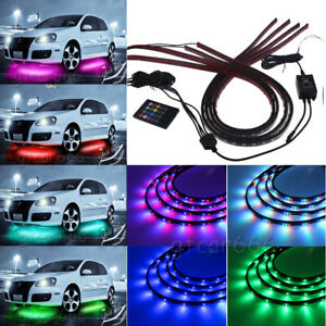 4 Rgb Led Strip Under Car Tube Underbody Underglow Glow Neon Lights System