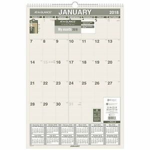 At a glance Monthly Wall Calendar Recycled January 2018 December 2018 X