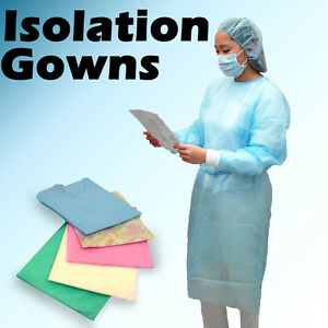50pc Blue Isolation Gowns Knit Cuff Dental Disposable Latex Free Fluid Resistant