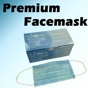 600 Pc 3 ply Blue Premium Dental Surgical Medical Disposable Earloop Face Mask