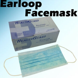 1000 10 Bx 3 ply Blue Commercial Dental Medical Disposable Earloop Face Mask
