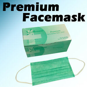 600 Pc 3 ply Green Premium Dental Surgical Medical Disposable Earloop Face Mask