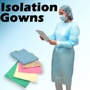 150 Blue Isolation Gowns Knit Cuff Dental Disposable Latex Free Fluid Resistant