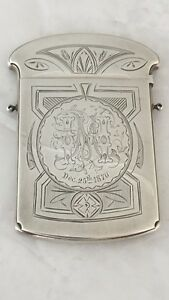 Antique Gorham Hand Chased Engraved Sterling Large Calling Card Case Christmas