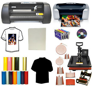 8in1 Heat Transfer Press 13 Laser Point Vinyl Plotter printer refil vinyl Bundle
