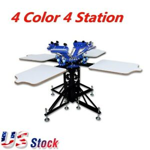Us 4 Color 4 Station Silk Screen Printing Machine Press T shirt Printer