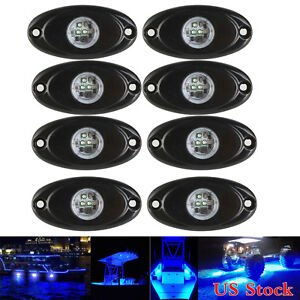 8x Blue 9w Cree Led Rock Light Jeep Atv Off Road Truck Under Body Trail Rig Lamp