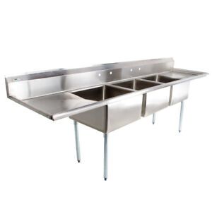121 Nsf Stainless Steel 3 Compartment Commercial Pot Sink With 2 Drainboards