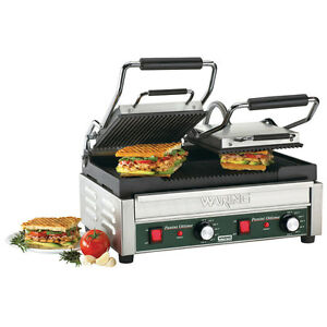 240 Volt Grooved Top Grooved Bottom Restaurant Panini Sandwich Grill