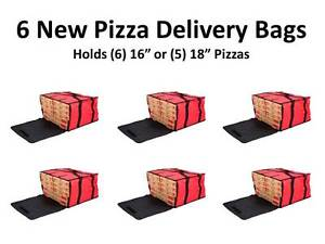 6 pack 20 X 20 X 12 Red Nylon Insulated Pizza Delivery Bags