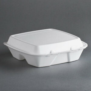 200 9 X 9 X 3 White Foam 3 compartment Take Out Container With Hinged Lid