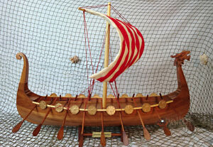 Drakkar Viking Handmade Wooden Model Boat