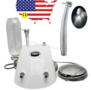 Usa Dental Portable Air Turbine Unit 2hole Work W Compressor Led High Handpiece
