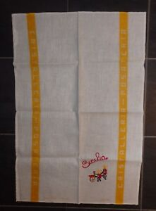 Vintage Sicily Italy Tea Towel Hand Embroidered From 1988 Sicilian Vb25