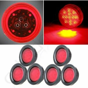 6 For Truck Trailer 2 5 round 13led Side Marker Clearance Tail Light Kit Red