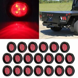 20pcs For Truck Trailer 2 5 Round 4led Side Marker Clearance Tail Light Kit Red