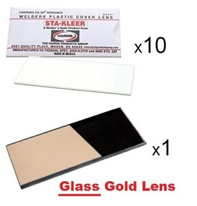 10 Clear Hood Lens Covers 1 Glass Gold Shade 11 Welding Hood Lens 2 X 4 25