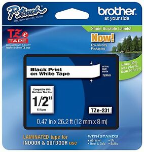 Brother P touch Tze231 1 2 Black On White Standard Laminated Tape 3 Pack