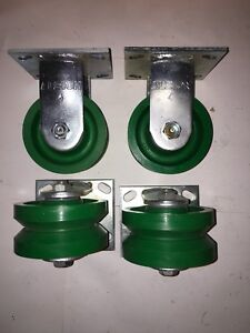 Albion Rigid Caster 4 X 2 Poly V groove Wheel Set Of 4 As Seen In Pic