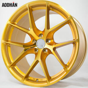 20x9 10 5 Aodhan Ls007 5x114 3 30 35 Gold Rims Fits Ford Mustang S550 S197
