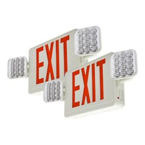 Lfi Lights 2 Pack Hardwired Red Led Combo Exit Sign Emergency Light