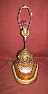 Nautical Antique Style Copper Diving Helmet Lamp
