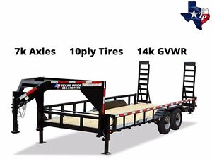 New Texas Pride 8 X 20 Gooseneck Lowboy Equipment Trailer 14k Gvwr