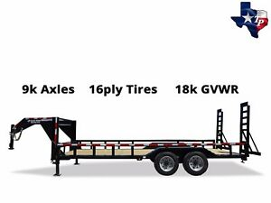 New Texas Pride 8 X 20 Gooseneck Lowboy Equipment Trailer 18k Gvwr
