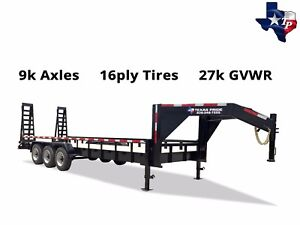 New Texas Pride 7 x24 Lowboy Gooseneck Tube Top Equipment Trailer 27k Gvwr