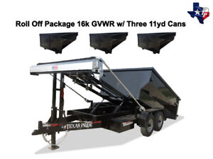 Brand New 7 X 12 Roll Off Dump Trailer 16k Gvwr With Three 11yd Dumpsters
