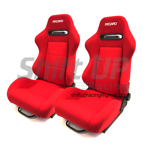 Recaro Sr3 Srd Red Pair Reclinable Racing Seats Cloth Fabric Bride W Slider