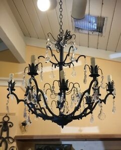 Antique French Crystal Pendants Iron Chandelier One Of A Kind