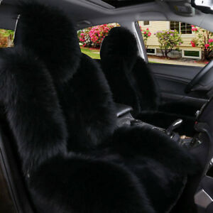 Australian Sheepskin Car Front Seat Cover Cushion Mat Long Wool Fur Hot Black